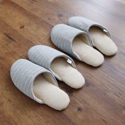 東洋紡「銀世界®」使用 抗菌スリッパ ソフティ2 色とサイズが選べる2足組 左から(ス)Mグレーボーダー、(セ)Lグレーボーダー