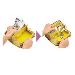 ネコのキラキラ長財布 小銭入れの機能にびっくり!お札やレシートなどと一緒に小銭を入れても、小銭だけが小銭ポケットに移動する画期的な作り!ホックを開ける前に少し振るのがコツ。