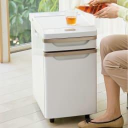 ベッドサイド冷蔵庫 (ア)ホワイト リビングでも活躍します! ソファサイドで、好きな飲み物やお酒を冷やしておけば、優雅なリラックスタイムを満喫できます。