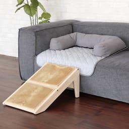 ソファを傷つけないペット専用ソファ「ソファオンソファ」 品番653202 スロープにもなるペットステップと一緒に使えば、ペットも上りやすく、一体空間へ。