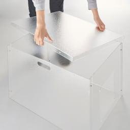 新アクリル製ペットトイレカバー 天面は取り外し可能。