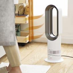 dyson/ダイソン hot&cool(暖房&扇風機) AM09 (イ)ホワイト×ニッケル 温風に切り替えできるので冬のキッチンでも活躍。