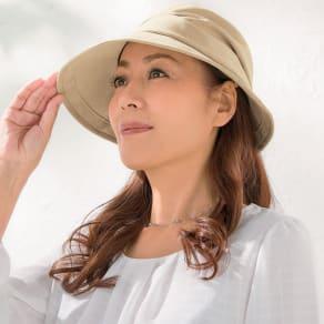 年中かぶれて小顔に見える多機能UVカット花粉リリースクロッシェ帽子 写真