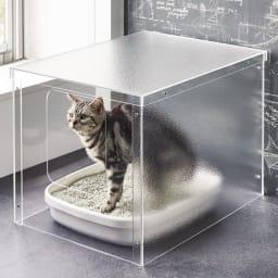 アクリル製ペットトイレカバー 清潔感があり、インテリアの邪魔をしないアクリル製のトイレカバー。側面(片側)と天板はすりガラス調なので、中が丸見えにならない構造です。