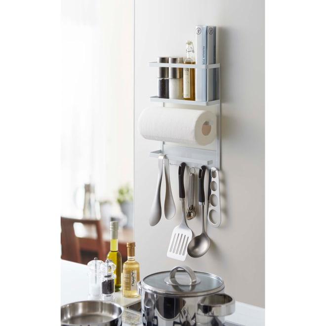 マグネット冷蔵庫サイドラックタワー [使用イメージ]ホワイト