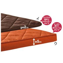 はっ水生地 こたつ敷き 【2長方形・小】190×210cm 敷き布団は厚さが選べる2タイプ。 ※お届けはレギュラータイプです。写真の(ウ)はオレンジ色見本です