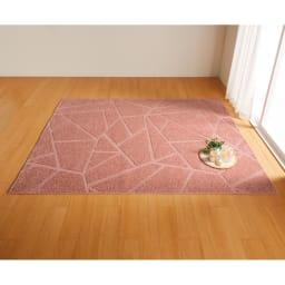 アース防ダニ加工(R)でダニ対策 防ダニカット&ループラグ (エ)ピンク ※写真は約190×240cmです。
