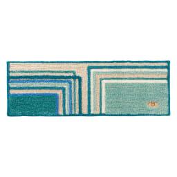 ミラ・ショーン玄関マット〈メイズ〉 (ア)ブルーグリーン系 ※写真は約32×120cmサイズです。