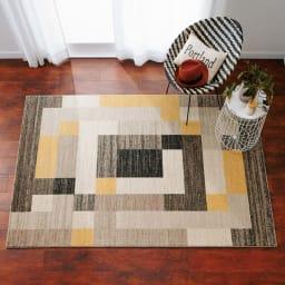 ベルギー製ウィルトン織ラグ (ア)イエロー系※写真は約160×230cmです。