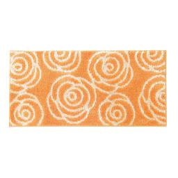 消臭汚れにくいキッチンマット(バラ柄・シダ柄・リンゴ柄) (ク)バラ柄オレンジ/WEB限定 ※写真は約60×120cmタイプです。