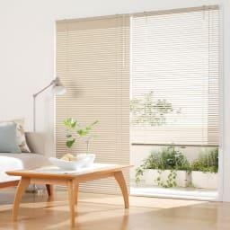 カーテンレールに取付OK機能で選べるインテリアブラインドシリーズ コーディネート例(ク)遮熱カルアベージュ 掃出し窓に。