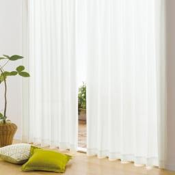 トリコットレースカーテン 幅100cm(2枚組) (イ)無地ホワイト