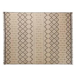 ベルギー製フリンジ付き平織りラグ 約200×250cm