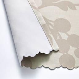 目隠し1級遮光・はっ水カフェカーテン 対応窓幅70~110cm(生地幅144cm) 裾部分はスカラップ (ア)ベージュ