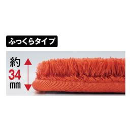 やわらかマイクロファイバーの多色シャギーラグ〈ラルジュ〉 ふっくらタイプ 【ふっくらタイプ】約15mm厚のウレタンで、クッション性アップ!床付きしにくく、防音対策にも。 ※画像は厚み見本です。(ふっくらタイプのオレンジ色は販売しておりません)