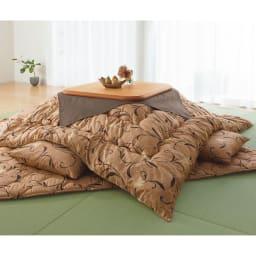 京都西川 はっ水 ふっくらこたつシリーズ 掛け布団 (ウ)ブラウン 写真は正方形です。
