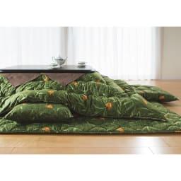 京都西川 はっ水 ふっくらこたつシリーズ 掛け布団 (イ)グリーン 写真は長方形です。