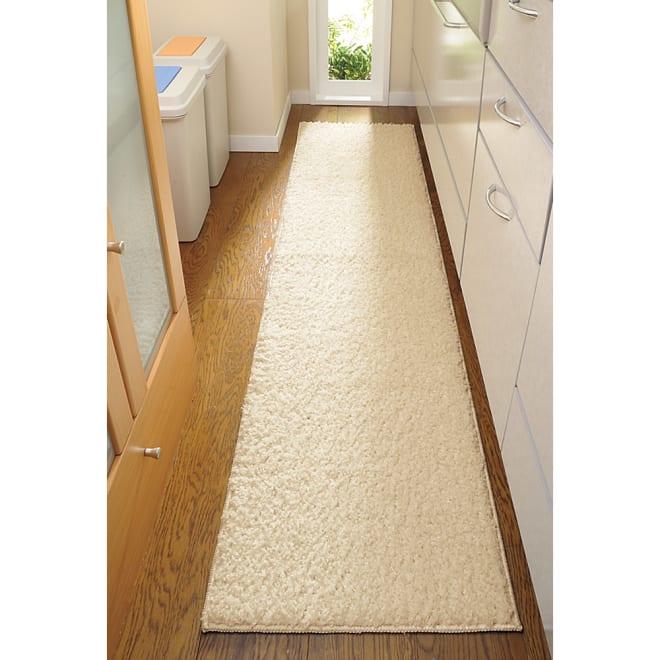 消臭加工洗えるもこもこキッチンマット 幅45cm 使用イメージ(ア)アイボリー