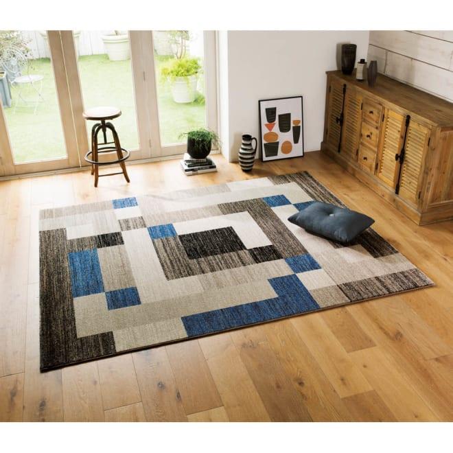 ベルギー製ウィルトン織ラグ (イ)ブルー系※写真は約200×250cmです。