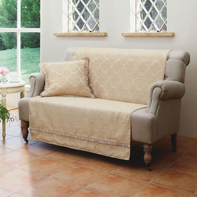 モロッコタイル柄 ジャカード織りソファカバー [アレックス] アームなしタイプ (ア)ベージュ ※写真は2人掛用です。クッションカバーは別売りです。