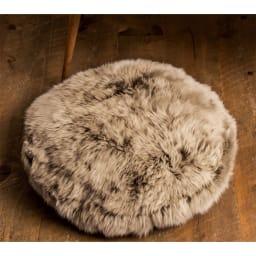 ミックスムートン クッション 円形(約径50cm) (ア)ブラウン系