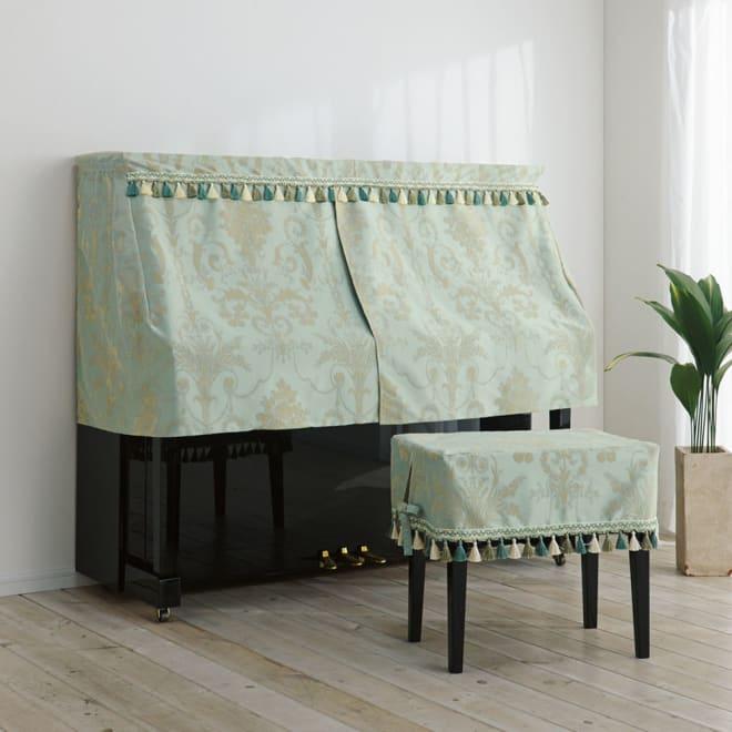 オーナメント ピアノカバー/チェアカバー (ア)ベージュ ※写真はピアノカバー・フルタイプ、チェアカバー・ベンチ用です。