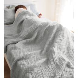 French Linen/フレンチ リネン 100% ふわふわ二重ガーゼケット (ア)グレー系
