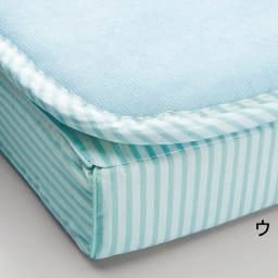 吸汗わたで汗かく夏に最適!麻混吸湿システム敷布団 洗い替え用パッド上層のみ (ウ)ストライプブルー ※パッドのみのお届けとなります。マットレスは含まれません。