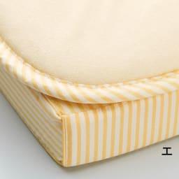 吸汗わたで汗かく夏に最適!麻混吸湿システム敷布団 洗い替え用パッド上層のみ (エ)ストライプイエロー ※パッドのみのお届けとなります。マットレスは含まれません。