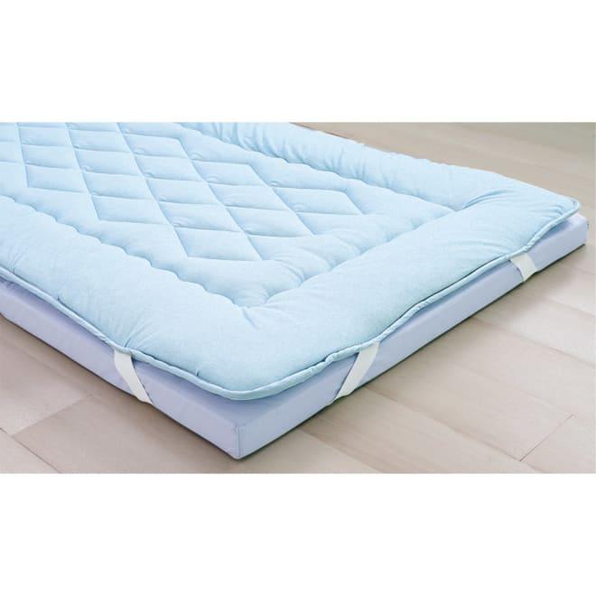 吸汗わたで汗かく夏に最適!麻混吸湿システム敷布団 洗い替え用パッド上層のみ (ア)ブルー ※パッドのみのお届けとなります。マットレスは含まれません。