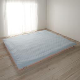 リバーシブルで1年中快適!洗える本麻の敷きパッド ファミリーサイズ【幅約200・220・240cm/3サイズ】 約幅240cm(イ)ブルー ※画像は表面にリネン面。