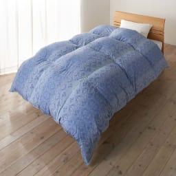 京都西川 特選2層式羽毛布団 増量タイプ (イ)ブルー系 シングルロング