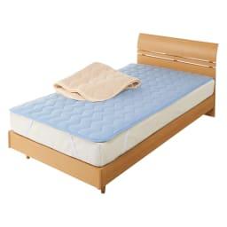家族の寝具のニオイ対策に!フレッシュ&ドライ消臭除湿敷きパッド 敷きパッド 上から(イ)ベージュ、(ア)ブルー 敷きパッド 消臭&除湿でオールシーズン快適。敷布団にも使えます。