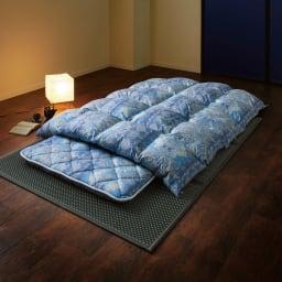 バーゲン寝具シリーズ 羽毛布団(ライトタイプ) シングルロング (イ)ブルー系 お得な掛け+敷きセット