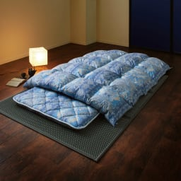 バーゲン寝具シリーズ 羽毛布団(ライトタイプ) シングルロング2枚組 (イ)ブルー系 お得な掛け+敷きセット