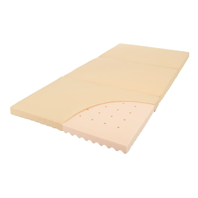 軽量・除湿!ブリヂストンの選べる3つ折りマットレス ベーシックタイプ 厚さ4cm ベーシック 高品質ウレタンに3つの湿気対策をプラス。軽さもうれしい。 軽量 通気孔 放湿