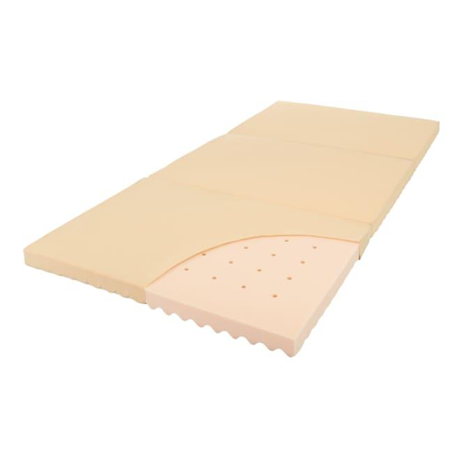 高硬度・軽量・除湿!ブリヂストンの選べる3つ折りマットレス ベーシックタイプ 厚さ6cm ベーシック 高品質ウレタンに3つの湿気対策をプラス。軽さもうれしい。 高硬度・軽量 通気孔 放湿