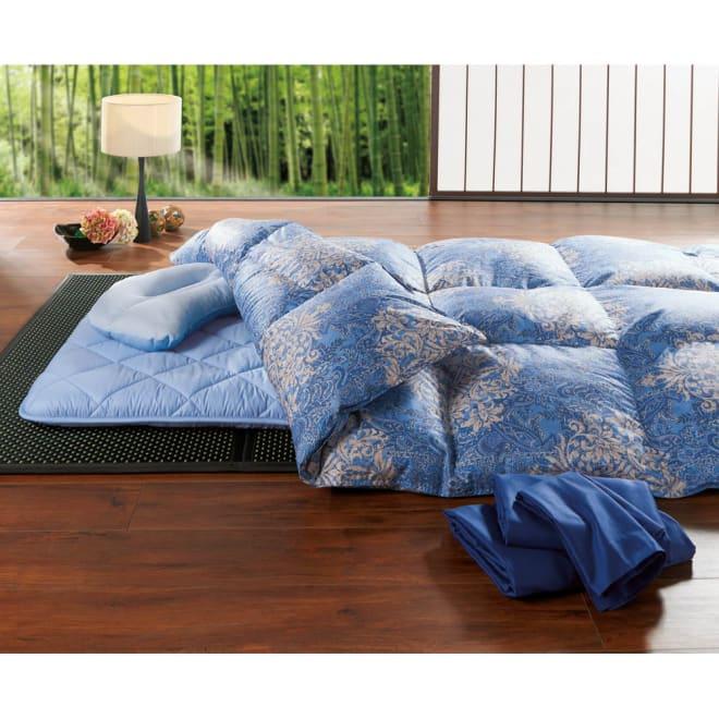 【西川リビング】フランス産羽毛布団6点セット(シングルロング) 竹 6点セット 優雅な眠り、ワンランク上の暖かさをあなたへ。 (イ)ネイビー系