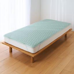 まるでシルクのようななめらかさ AirJob(R)テンセルTMサテン 敷きパッド シングル (イ)サンドグリーン 通気性と速乾性にこだわった気持ちいい敷きパッド。