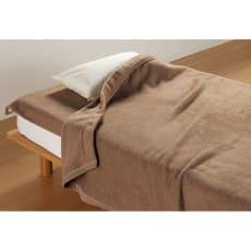 洗える 無染色ブラウンカシミヤ毛布(毛羽部) お得な掛け敷きセット