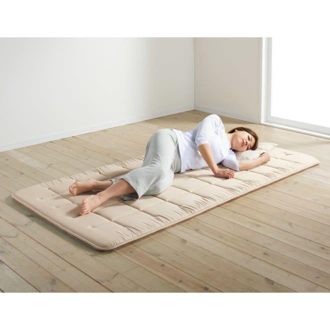 魔法の敷き寝具シリーズ しっかり綿ツイル 敷布団 フローリングにもこれ1枚でOK! (イ)ベージュ