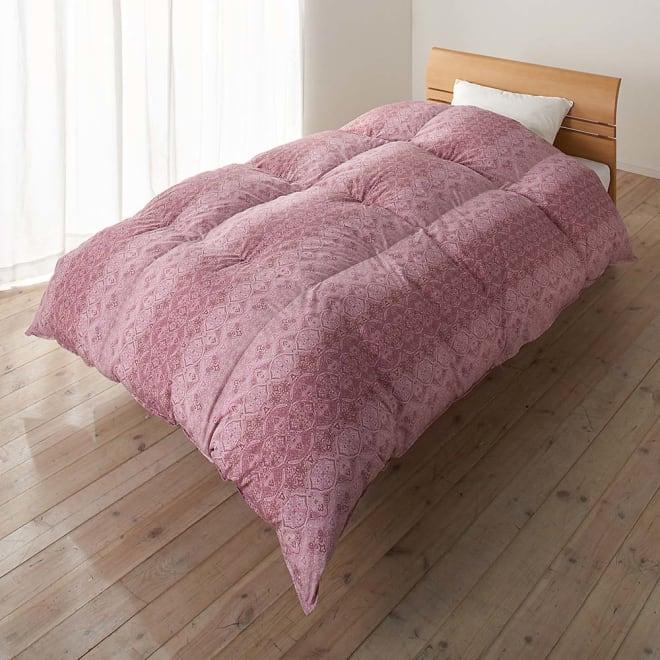 京都西川 特選2層式羽毛布団 レギュラータイプ シングルロング お得な2色組 レッド系