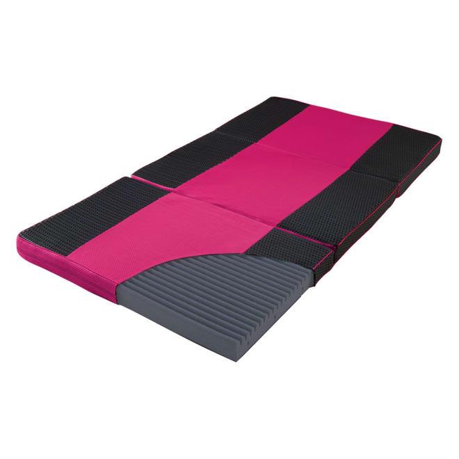 スリープマジックマットレス 3つ折り敷布団 点で支える安定感のブロックタイプ。 (ア)ピンク