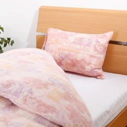 天竺ニットピローケース メロウフレーズ 同色2枚組 (ア)ピンク 高級コットン新疆綿を使用した、なめらかな天竺ニット生地のピローケース。