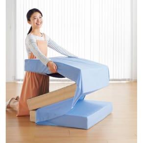 ダブル (つけたまま畳める3つ折りマットレス専用シーツ 厚さ10~12cm用) 写真