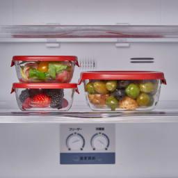 HARIO/ハリオ 耐熱ガラス製保存容器 角型 6個セット  冷蔵庫もすっきり。