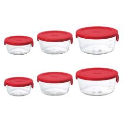 HARIO ハリオ 耐熱ガラス保存容器 丸型 同色6個セット  (イ)レッド 左からSサイズ、Mサイズ、Lサイズ