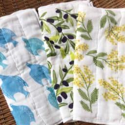 しあわせ重ね蚊帳ふきん 3柄セット 左から 青い鳥、オリーブ、ミモザ(一度洗濯した状態です)