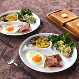 コレール ウインターフロスト ランチプレート 26cm 2枚組 朝食に。サラダのドレッシングも混ざりません。