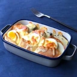 調理もできるホーロー容器 ホーローオーブンディッシュ1個 浅型S 0.9L オープンサンドのチーズ焼きはトースターで。